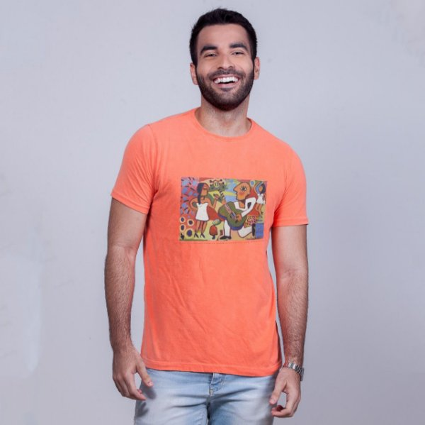 Camiseta Estonada Flávio Freitas Samba Laranja