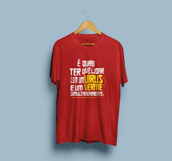 Camiseta Vírus Verme Vermelha