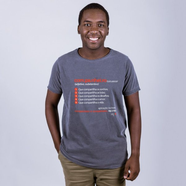 Camiseta A Fio Companheiro Dicionário Chumbo