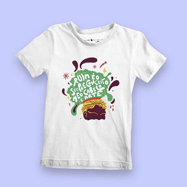 Camiseta Infantil Cabelo Arte Branca