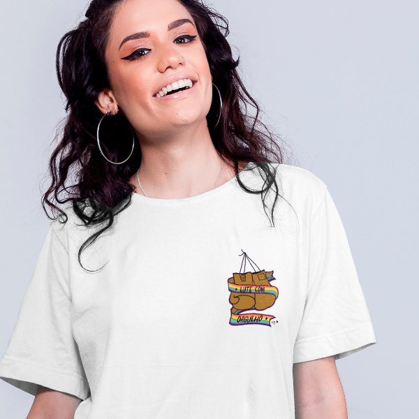 Camiseta Lute com LGBTQI+ Branca