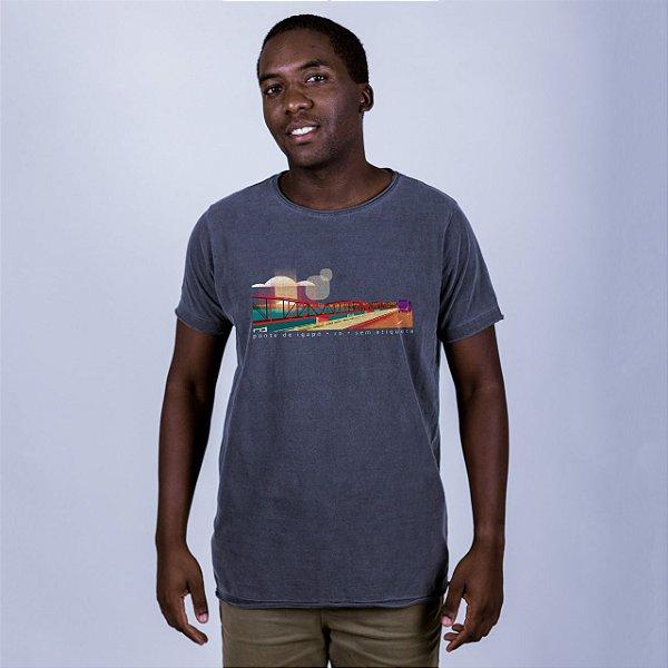 Camiseta Estonada A Fio Ponte de Igapó Chumbo