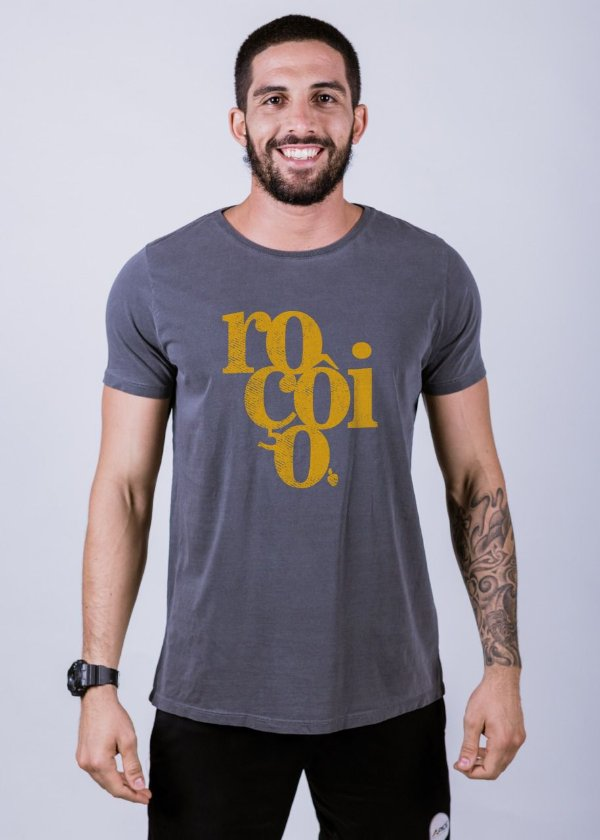 Camiseta Estonada Roçôio Grunge Chumbo