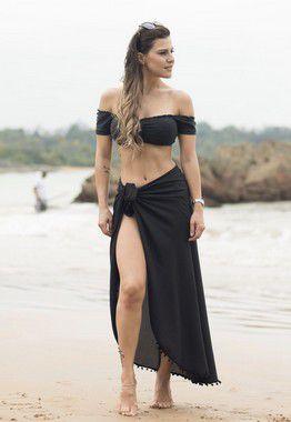cb1fc8b3a9d0 Canga Redonda Lisa Preta Com Pompons- Canga de Praia - Camila Alves ...
