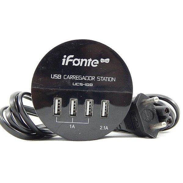 Carregador HUB USB ifonte 4 Portas Turbo Iphone Tablet