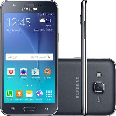 Smartphone Samsung Galaxy J5 Duos SM-J500M/DS, Quad Core 1.2Ghz, Android 5.1, Tela 5, 16GB, 13MP, 4G, Dual Chip, Desbl - Preto