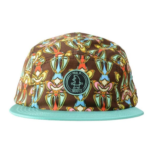 HULAROOTS BROWN PATTERN 5 PANEL SNAPBACK