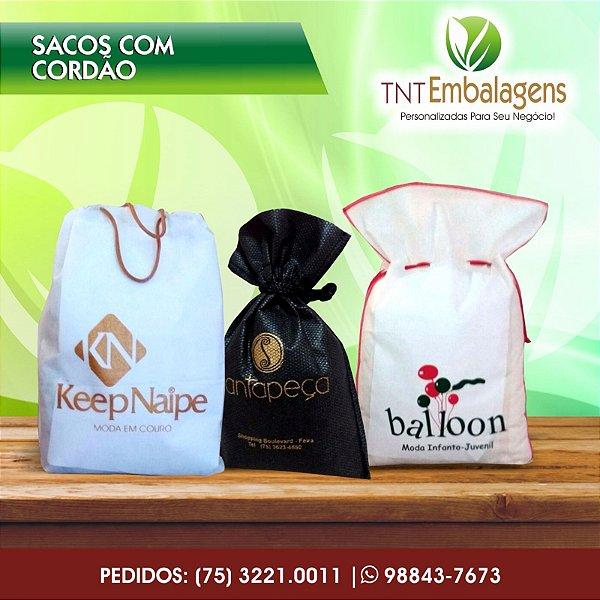 SACOS DE TNT PARA PRESENTE COM CORDÃO- (SEM LATERAL) - TNT EMBALAGENS