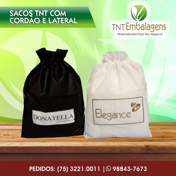 SACOS DE TNT PARA PRESENTE COM CORDÃO - (COM LATERAL) - TNT EMBALAGENS