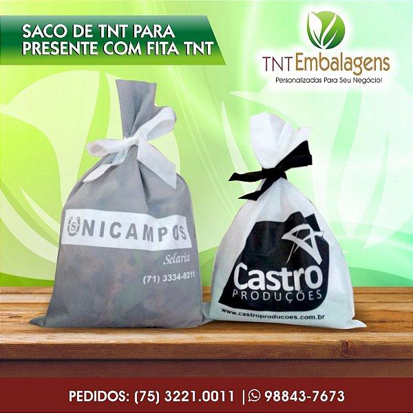 SACOS DE TNT PARA PRESENTE COM FITA TNT E BORDA - (COM LATERAL) - TNT EMBALAGENS