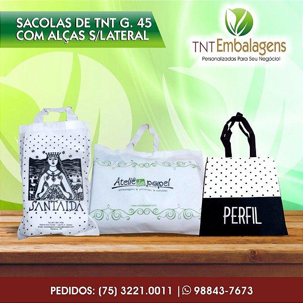 SACOLAS DE TNT PERSONALIZADA COM ALÇA DE TNT - (SEM LATERAL) - TNT EMBALAGENS