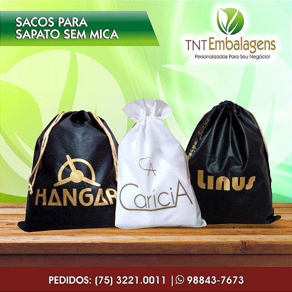 SACOS DE TNT COM CORDDÃO PARA SAPATOS SEM MICA TRANSPARENTE (SEM LATERAL) - TNT EMBALAGENS