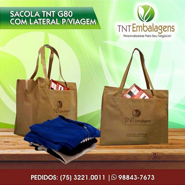SACOLA DE TNT PARA VIAGEM PERSONALIZADA COM ALÇA TNT - (COM LATERAL) - TNT EMBALAGENS