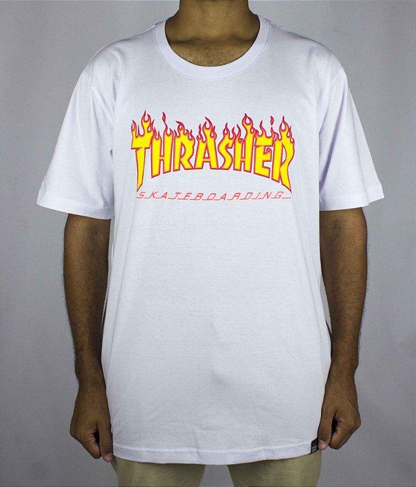 CAMISETA THRASHER Skateboard FLAME - BRANCA - JD Skate Shop e32094f1637