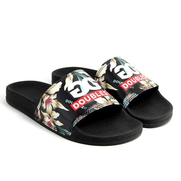 CHINELO DOUBLE-G SLIDE LOGO FLORAL - PRETO