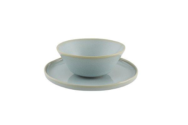 Xícara de Chá sem asa com pires Terra Azul 255ml