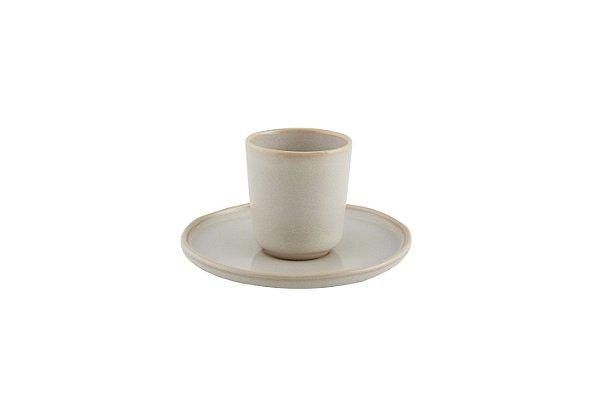 Xícara de Café sem asa com pires Terra Areia 90ml