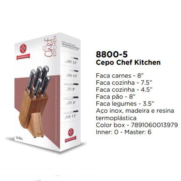 Jogo de Facas Para Cozinha Chef Kitchen Mundial Cepo 5 Pecas
