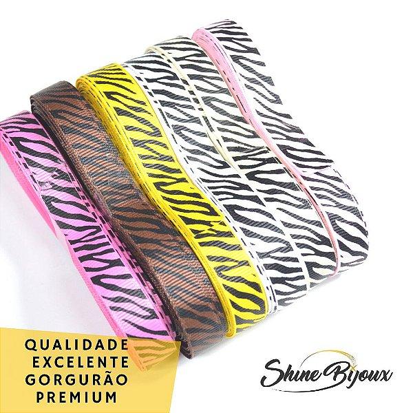 Kit Fita gorgurão nº03 15mm estampa zebra 06 cores 60mts