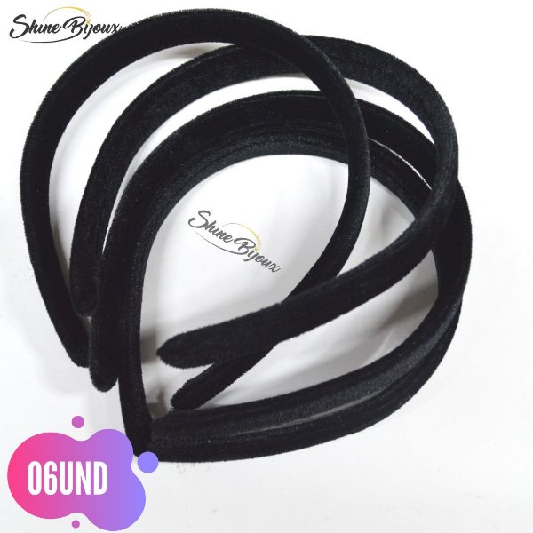 Tiara de veludo encapada  15mm (1,5cm)  06 unidades preto