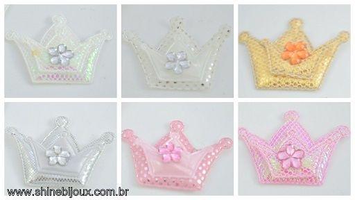 Coroa de Tecido 2 em 1 com 3 pontas e Chaton 45x30mm Shine Beads®