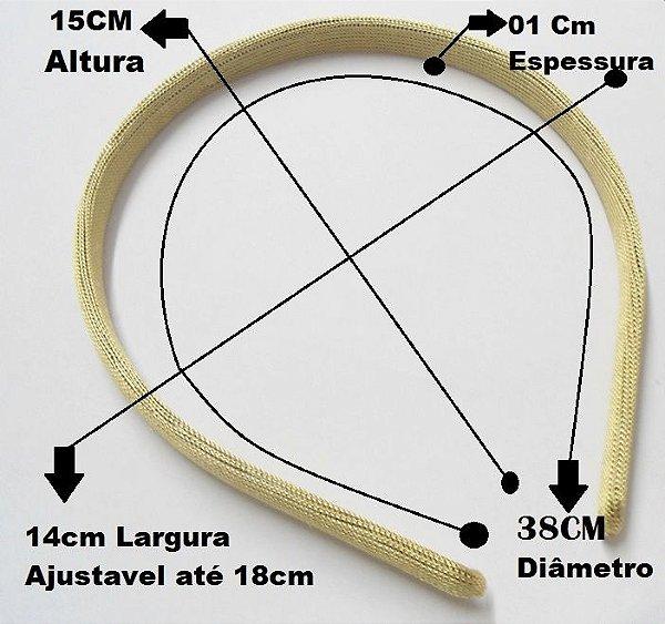 Tiara Plástica CPP encapada com tecido 1x38x14cm