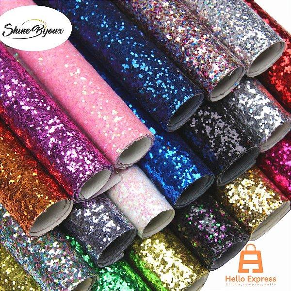 Lonita Flocada Super Glitter  24x40cm tecido Glitter para laços chinelos bolsas