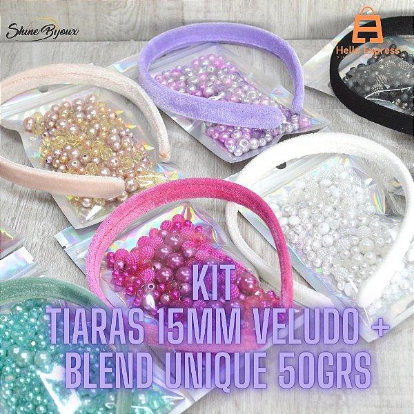 Kit Blends unique com tiaras de veludo 15mm  50grs + 01 unidade tiara