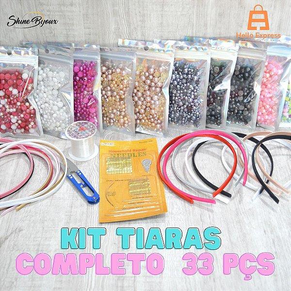 Kit Fabrica de tiaras iniciante  jogo completo tiaras linha agulhas e pedrarias