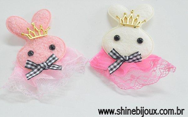 Aplique Coelho com coroa 9x8cm pelúcia com renda Shine Beads®