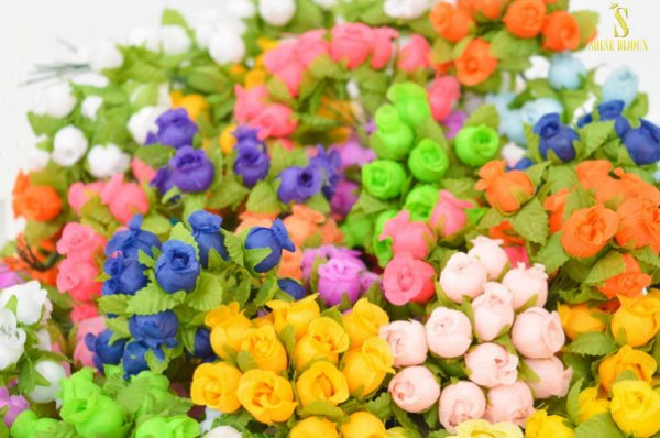 Mini Rosas Flores de Seda 12mm para artesanatos e arranjos em maços Shine Beads®