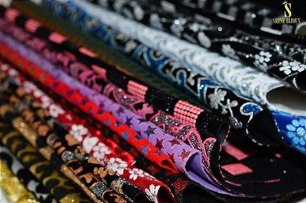 Lonita Estampada com Tecido Glitter (PU) para chinelos e artesanatos Shine Beads®