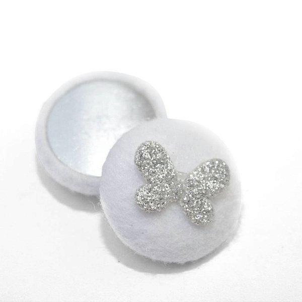 Botão forrado feltro para artesanato borboleta com gliter 25mm(2.5cm) para colagem