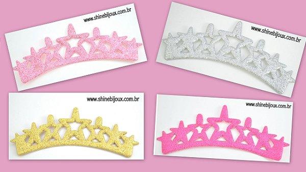 Aplique Coroa Glitter sete estrelas 14x5cm Shine Beads®