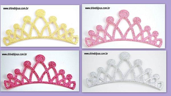 Coroa Aplique Glitter sete pontas 10x5cm Shine Beads