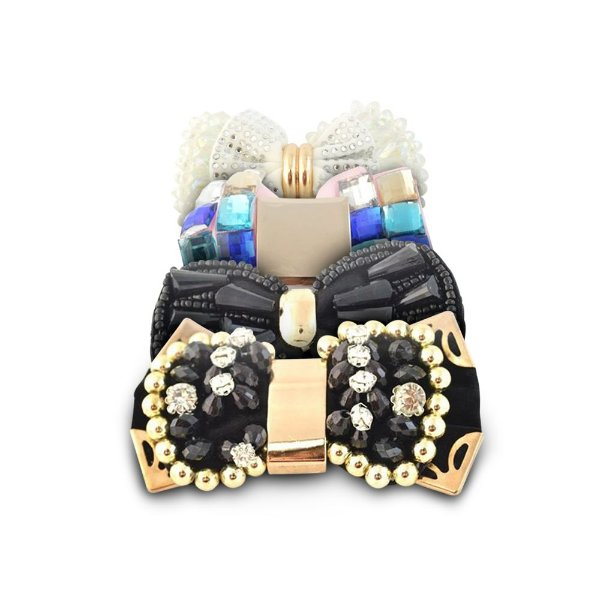 Laço em tecido bordado com pedrarias para chinelos e tiaras  Shine Beads®