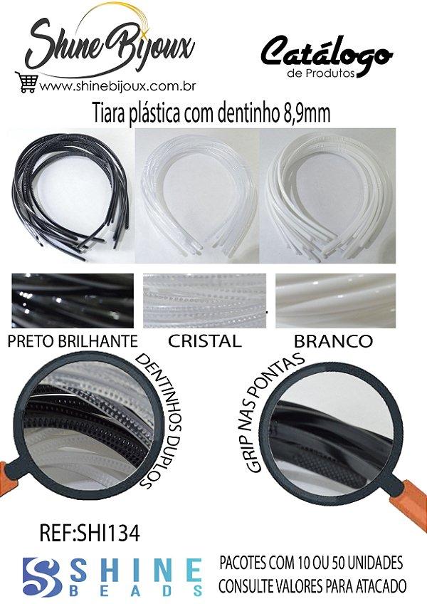 Tiara plástica com dentinhos importada  8,9mm  PRETA-BRANCA-CRISTAL / 10 und ou pct com 50und