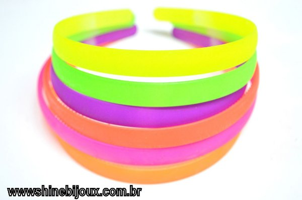 Tiara Pente dentinho emborrachada 12mm neon 12 unidades 06 cores