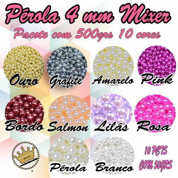 Perola Abs Shine Beads Mixer 10 pacotes com 50 grs (500GRS) cores variadas