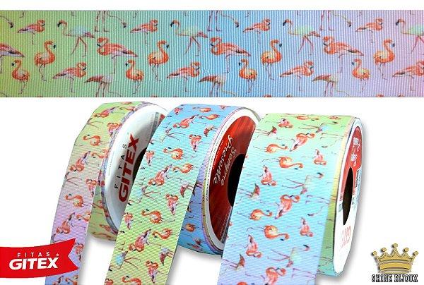 Fita gorgurão estampa Flamingo Gitex® N˚05 / 09 / 12