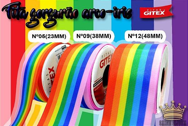 Fita gorgurão estampa Arco-iris  Gitex® N˚05 / 09 / 12