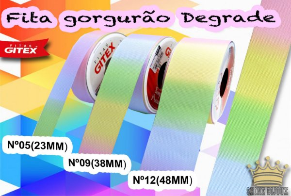 Fita gorgurão estampa Degrade  Gitex® N˚05 / 09 / 12