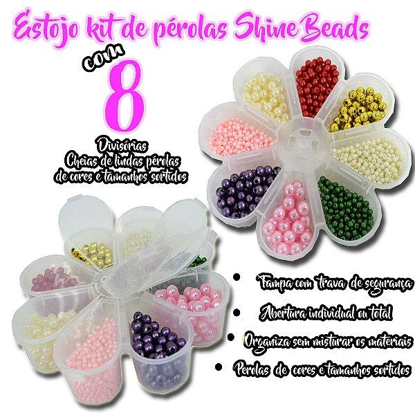 Estojo margarida Kit de perolas Shine Beads 8 divisórias cheias C/ Perolas inteiras 08mm