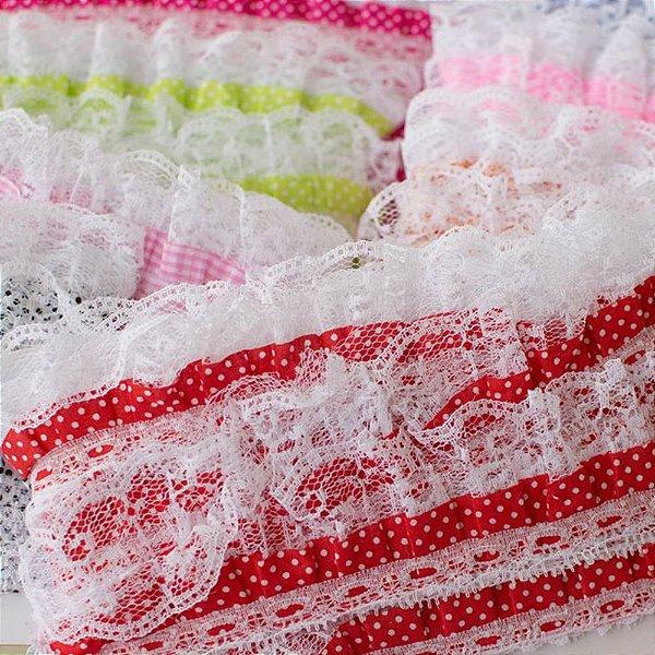Renda Guipir POA (tecido com babado) 10 Jardas (9.45mts) ideal para laços roupas etc