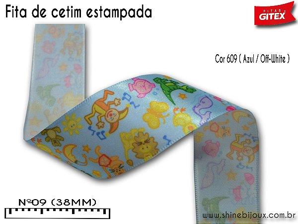Fita cetim estampa divertida Gitex®  Nº09(38mm)
