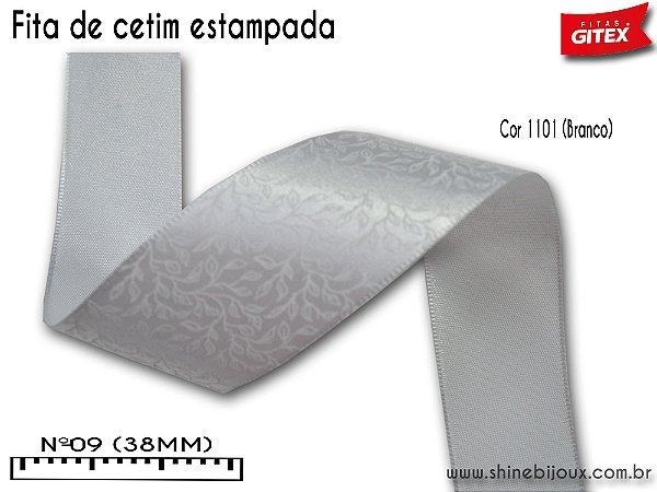 Fita cetim estampa folhas flexo Gitex® Nº09 (38mm)