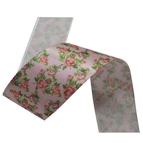 Fita cetim estampa rosas floral Gitex®  Nº09(38mm)