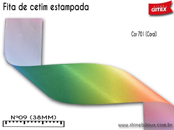 Fita cetim estampa arco iris degrade Gitex®  Nº09(38mm)