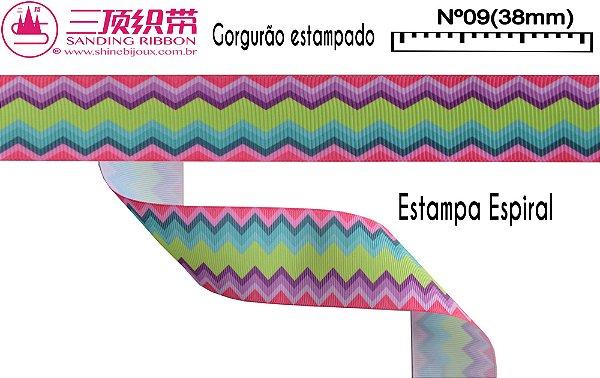 Fita Sanding® Gorgurão estampa aspiral Nº09 /38mm
