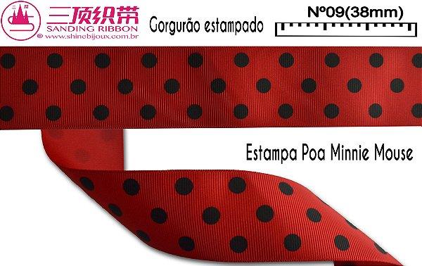 Fita Sanding® Gorgurão estampa Poa Minnie Nº09 /38mm